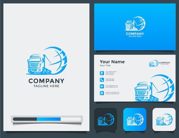 Wereld vrachtwagen logo en visitekaartje