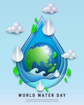 Wereld water dag. bespaar water voor het concept van ecologie en milieubehoud