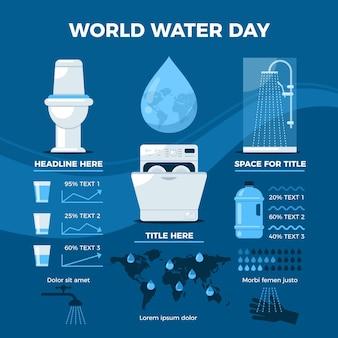 Wereld water dag infographic sjabloon