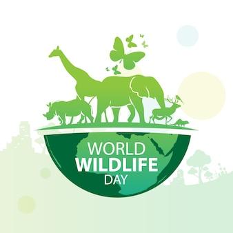 Wereld wildlife dag ontwerpsjabloon