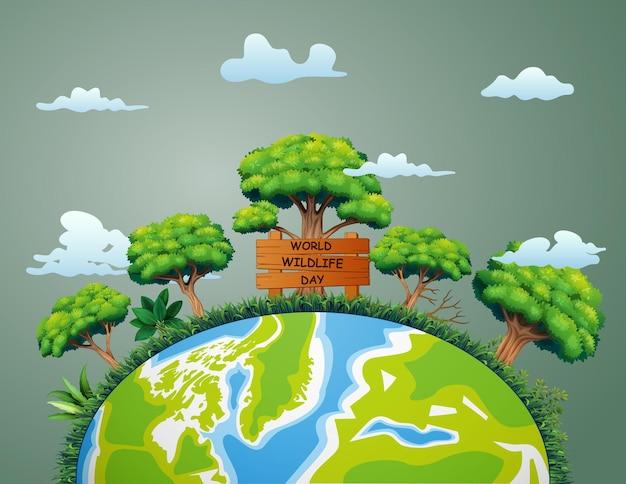 Wereld wildlife day-bord met planten en bomen op aarde illustratie