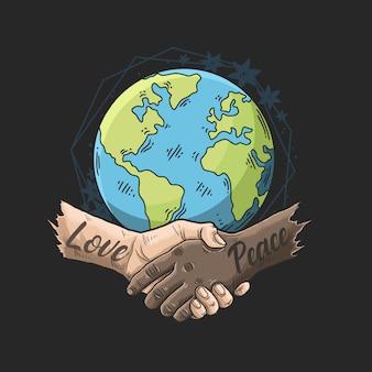 Wereld zegt nee tegen de illustratie van de racismecampagne