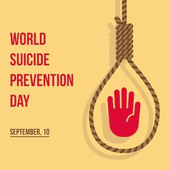 Wereld zelfmoord preventie dag plat ontwerp illustratie