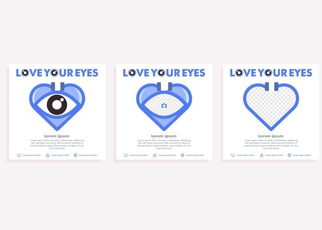 Wereld zicht dag social media postsjabloon. social media post voor ontwerpconcept voor ooggezondheidscampagnes