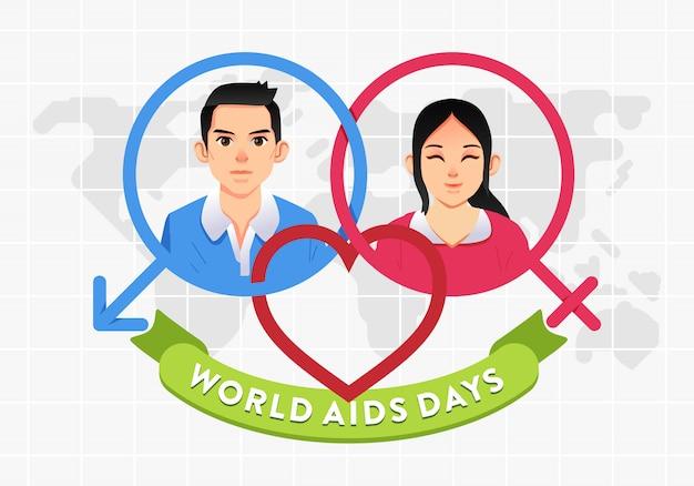 Wereldaidsdag-postercampagne met man en vrouwkarakter op geslachtspictogram en wereldkaart als achtergrondillustratie