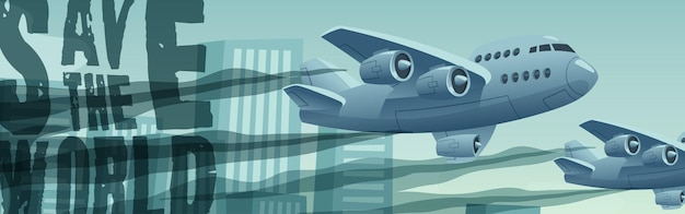 Wereldbanner redden met vliegende vliegtuigen