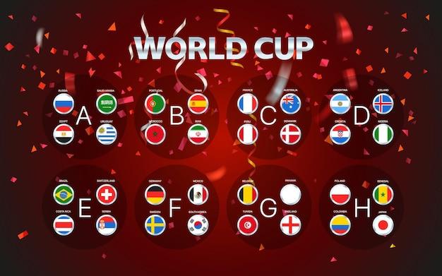 Wereldbeker groepen lay-out met confetti