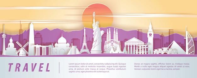 Wereldberoemd oriëntatiepunt papier kunstontwerp