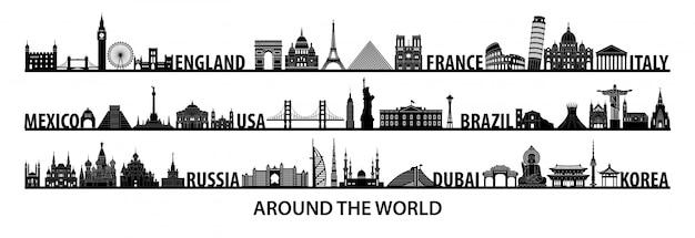 Wereldberoemde bezienswaardigheden silhouet stijl