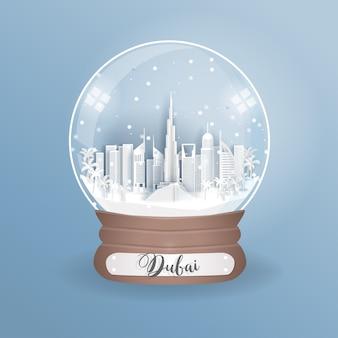 Wereldberoemde bezienswaardigheid van dubai in een wereldbol, glazen bol.
