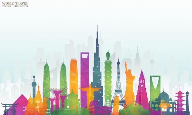 Wereldberoemde landmark kleurrijke kunst
