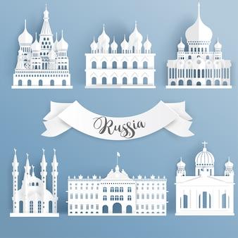 Wereldberoemde oriëntatiepuntelementen van rusland, kathedraal.