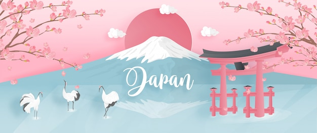 Wereldberoemde oriëntatiepunten van japan met fuji-berg en rood-bekroonde kraan.