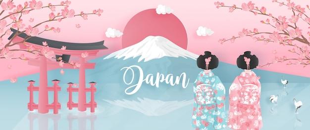 Wereldberoemde oriëntatiepunten van japan met fuji-berg en vrouwen in kimono-kleding