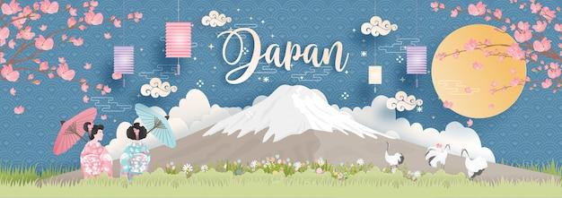 Wereldberoemde oriëntatiepunten van japan met fuji-berg