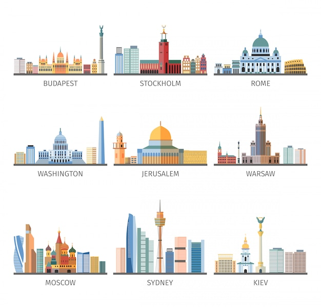 Wereldberoemde stadsgezichten vlakke pictogrammeninzameling