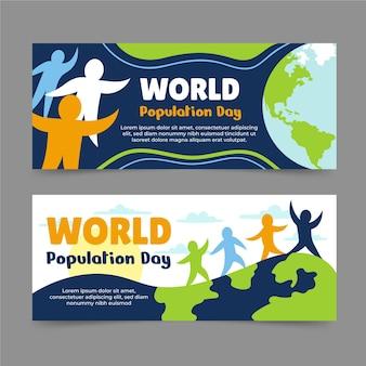 Wereldbevolking dag banners instellen