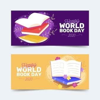 Wereldboek dag banners hand getrokken