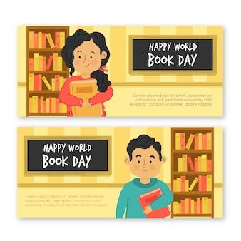 Wereldboek dag banners plat ontwerp