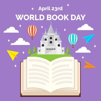 Wereldboek dag vlakke stijl