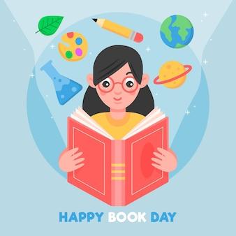 Wereldboekdag illustratie met vrouw leesboek