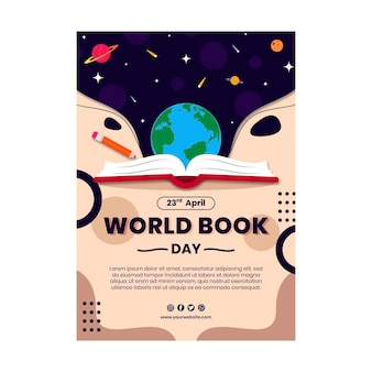 Wereldboekdag verticale flyer-sjabloon