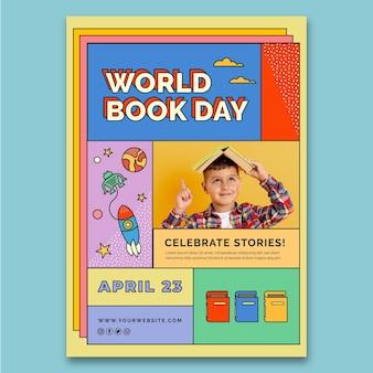 Wereldboekdag verticale poster sjabloon