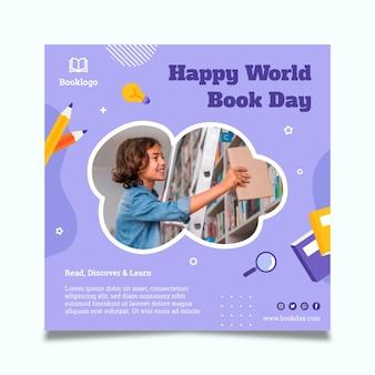 Wereldboekdag vierkante flyer-sjabloon