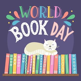 Wereldboekendag. hand getekend kat slapen op boekenplank met belettering.