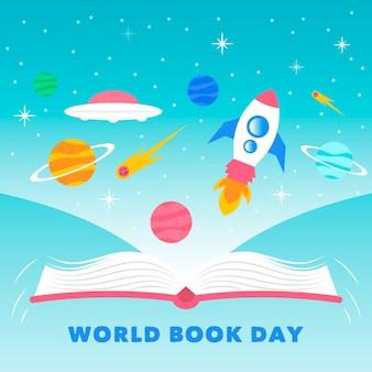 Wereldboekendag in plat ontwerp