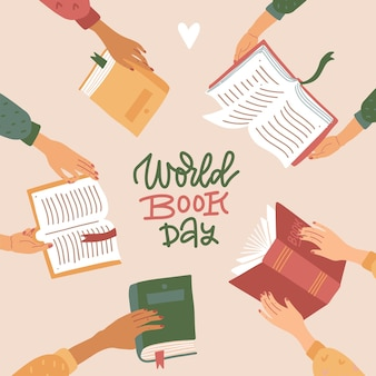 Wereldboekendag vierkante banner met handgetekende belettering tekst veel didderent handen met open boeken ...