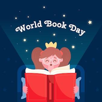Wereldboekendagontwerp met lezer