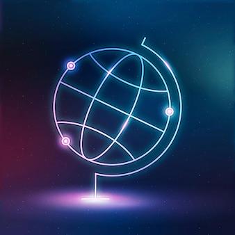 Wereldbol aardrijkskunde onderwijs pictogram neon digitale vectorafbeelding
