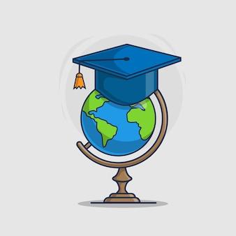 Wereldbol en afstuderen glb pictogram vectorillustratie