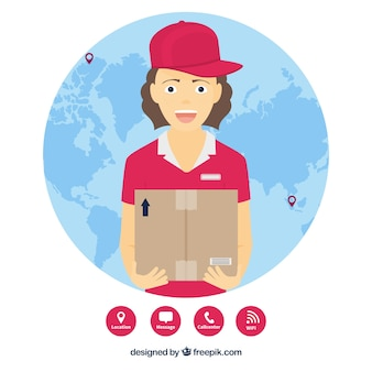 Wereldbol en smiley deliverywoman