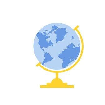 Wereldbol icoon in platte stijl. vector illustratie.