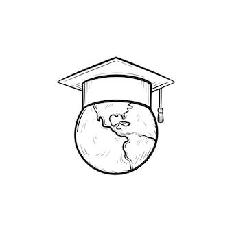 Wereldbol in afstuderen glb hand getrokken schets doodle pictogram. afstuderen hoed op de wereldbol vector schets illustratie voor print, web, mobiel en infographics geïsoleerd op een witte achtergrond.