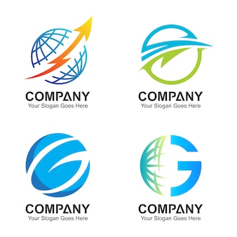 Wereldbol logo sjabloon, wereldwijde pictogrammen, wereld logo set
