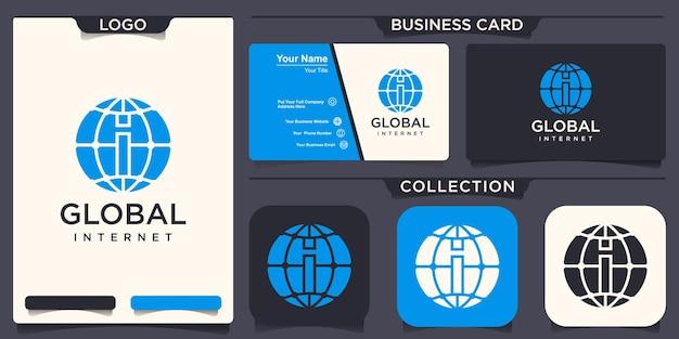 Wereldbol met ik logo vector logo ontwerpsjabloon.