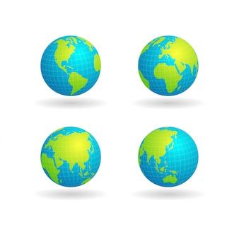 Wereldbol met raster