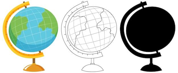 Wereldbol met zijn omtrek en silhouet
