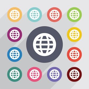 Wereldbol, plat pictogrammen instellen. ronde kleurrijke knopen. vector