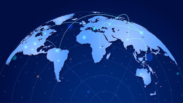Wereldbolkaart met netwerkverbindingen