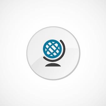 Wereldbolpictogram 2 gekleurd, grijs en blauw, cirkelbadge Premium Vector