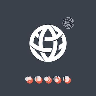 Wereldbolteken, symbool van het wereldwijde proces van de aarde, logo met zijn eenvoudige overzichtsvorm.