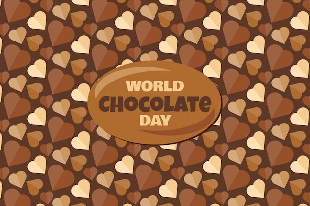 Wereldchocoladedag met tekst en smakelijke dessertachtergrond