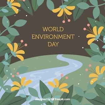 Werelddag milieu achtergrond met bloemenframe
