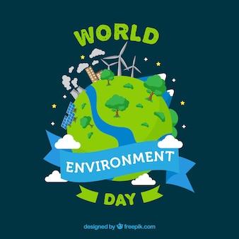Werelddag milieu achtergrond met hernieuwbare energie