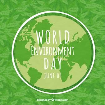 Werelddag milieu achtergrond met wereldkaart en bladeren