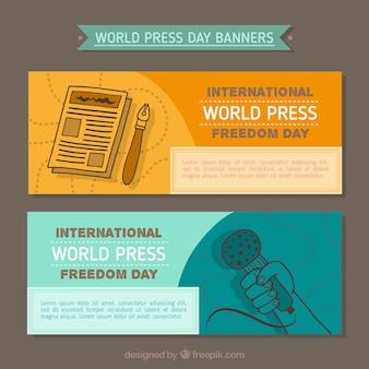 Werelddag persvrijheid banners in de hand getekende stijl
